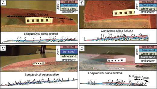 Various longitudinal and transverse cross sections from the experiments. (A) Longitudinal cross section of experiment 7 run on model 1 ramp, with layered colored sand; dominantly compressive structures are observed through the profile. (B) Transverse cross section of experiment 8 carried out on model 1 ramp; exclusively thrust faults appear. Note that the thrust-fault dip variations form center of mass to lateral margins. (C) Longitudinal cross section of experiment 32 run on model 2 ramp, where a humid sand layer placed between normal dry layers underwent boudinage processes and formed hummocks on the deposit surface. (D) Longitudinal cross section of experiment 16, model 1 ramp; the substratum layer (black sand) covering the sliding plane is entrained, accumulated, and piled up in frontal zones of the deposit.