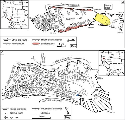 Structural maps. (A) Non-volcanic rockslide avalanche, Blackhawk (California, USA). (B) Volcanic rockslide avalanches: Chaos Jumbles (California, USA). (C) Mombacho North and South (Nicaragua). Note the differences in surface structure organization where Blackhawk and Chaos Jumbles have ridged and fault-rich surfaces, contrary to those from Mombacho North and South, both ridge poor and hummock rich.