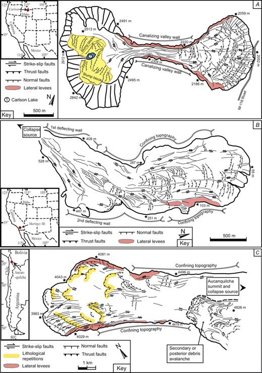 Structural maps. (A) Non-volcanic rockslide avalanche, Carlson (Idaho, USA). (B) Non-volcanic rockslide avalanche, Martinez Mountain (California, USA). (C) Volcanic rockslide avalanche, Aucanquilcha (Central Andes, Chile). (D) Volcanic rockslide avalanche, Lastarria (Central Andes, Chile and Argentina). (E) Volcanic rockslide avalanche, Ollagüe (Central Andes, Bolivia and Chile).