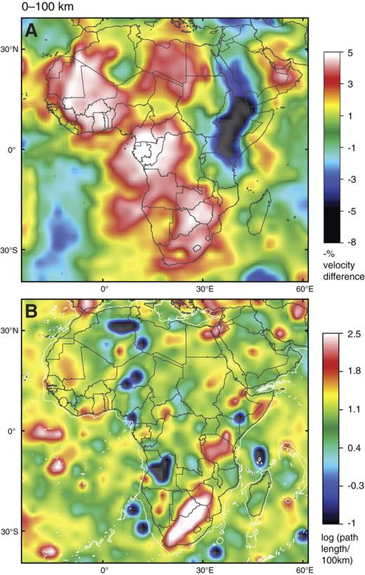 Upper panel shows tomographic image (S-wave velocity [Vs]) of Africa, 0- to 100-km depth slice; reference velocity is 4.6 km/sec. Red to white colors denote velocities much higher than the starting model; blue-green colors show Vs much lower than the starting model. Lower panel shows the density of ray paths through individual cells, expressed as log (path length/100 km). Areas with blue colors are poorly constrained, whereas yellow to white areas have relatively good ray-path coverage. White line outside the continental margins is the 2000 m bathymetric contour.