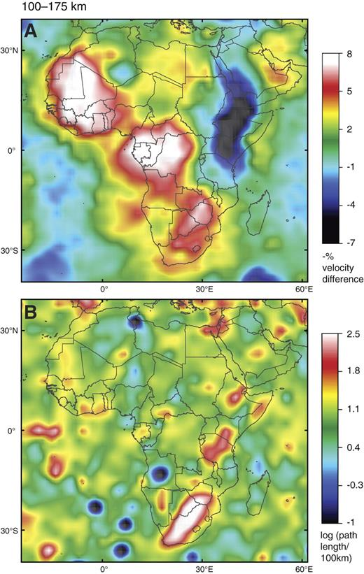 Tomographic image (S-wave velocity [Vs]) of Africa, 100- to 175-km depth slice, with map of ray-path coverage as per Figure 5. Reference velocity is 4.5 km/sec.