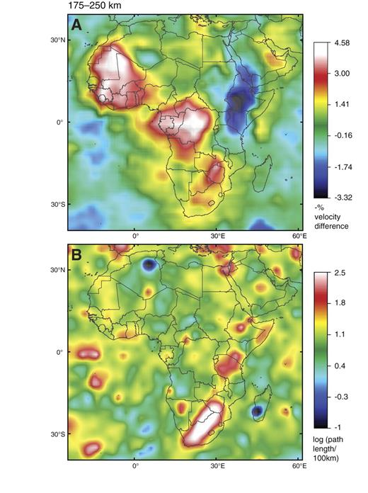 Tomographic image (S-wave velocity [Vs]) of Africa, 175- to 250-km depth slice, with map of ray-path coverage as per Figure 5. Reference velocity is 4.48 km/sec.