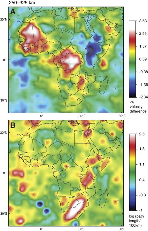 Tomographic image (S-wave velocity [Vs]) of Africa, 250- to 325-km depth slice, with map of ray-path coverage as per Figure 5. Reference velocity is 4.56 km/sec.