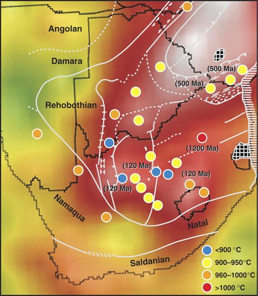 Map of southern Africa showing the distribution of temperature at 150-km depth, estimated from paleogeotherms defined by xenolith and xenocryst data on kimberlite pipes of different ages. Approximate ages of some kimberlites are shown in brackets; unlabeled ones were intruded at 85–100 Ma.