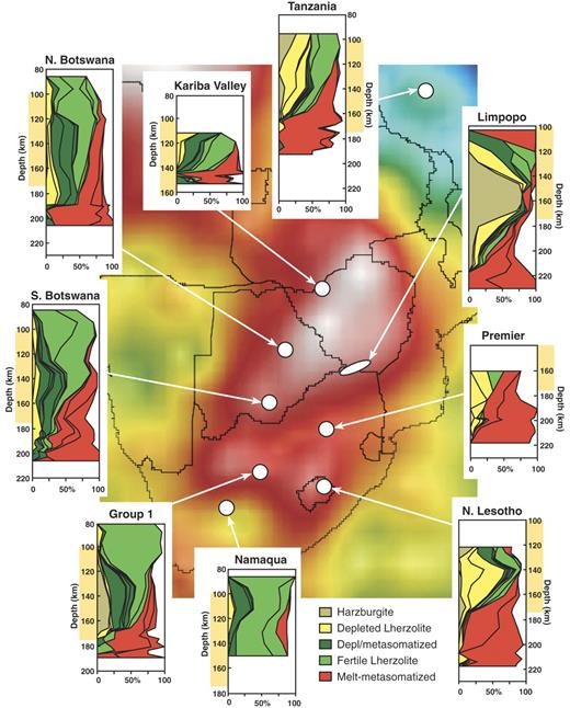 Chemical tomography sections for the subcontinental lithospheric mantle (SCLM) beneath selected kimberlite fields (after Griffin et al., 2003a), showing the relationships between SCLM composition and thickness and the seismic tomography model in the 100- to 175-km depth slice.