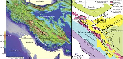 Regional geological setting. (A) Regional topographic map. (B) Tectonic map of Iran showing the main tectonic provinces and the main Cenozoic fault trends associated with central Iran.