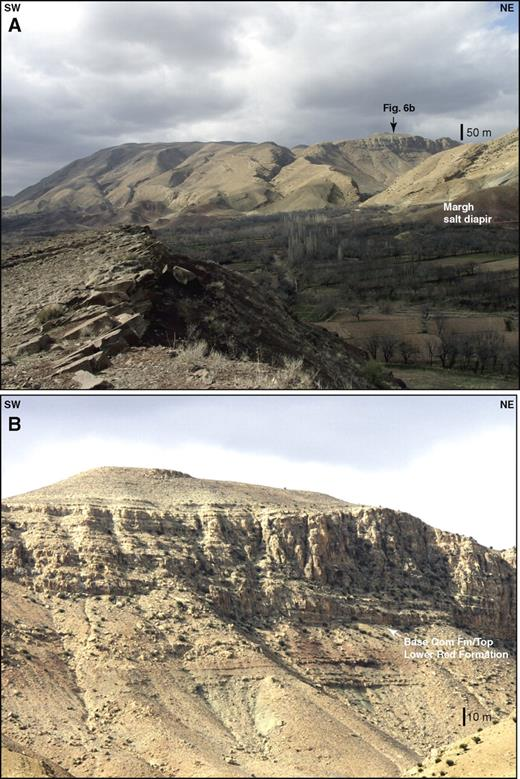 Photos show typical geology of the large-scale folds in Central Basin sedimentary rocks. (A) Photograph of a basement-involved fold in the Tafresh massif. (B) Close-up of the fold crest showing a low-angle angular unconformity between the Qom Formation and the Lower Red Formation. See Figure 2A for location.