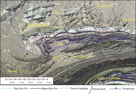 Partially transparent 15 m Aster satellite image, overlaid on 30-m-slope shaded digital elevation model for the Mill anticline showing normal faulting, folding, and thrusting of the Qom Formation. 1—location of Mill oil seep, 2—syndepositional horst block. See Figure 2B for location. URF—Upper Red Formation; LRF—Lower Red Formation.