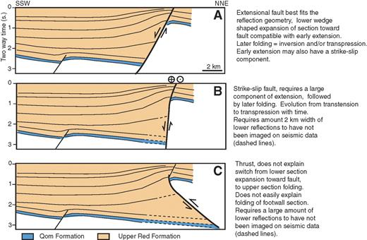 Line drawings based on the seismic line in Figure 13, showing the different ways in which the main bounding fault can be interpreted. (A) Normal or transtensional fault. (B) Strike-slip fault. (C) Thrust fault or transpressional fault.