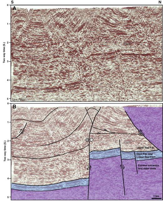 (A) Uninterpreted seismic line. (B) Interpreted seismic line. Lines are across the Saveh area showing older high-angle faulting, and younger thrusting and folding affecting the Upper Red Formation. There appears to be considerable strain partitioning, with strike-slip deformation concentrated on the vertical fault in the basin center, and compression accommodated by the lower-angle thrust on the eastern margin of the basin that emplaces Eocene volcanics over sedimentary rocks of the Central Basin. See Figure 2B for location.