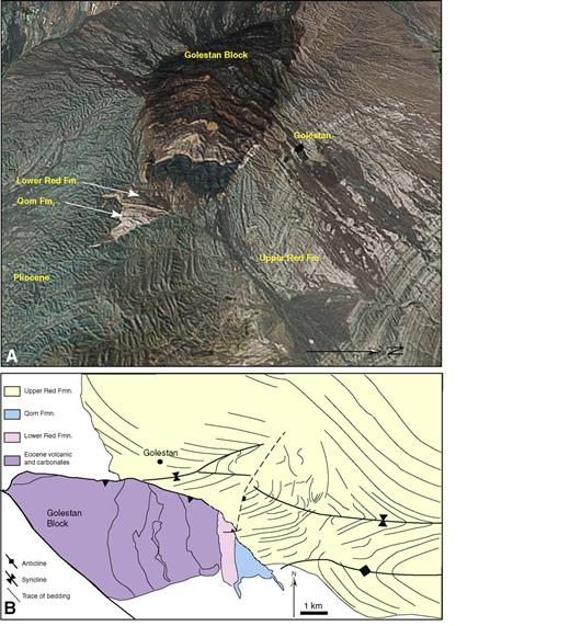 (A) Three-dimensional perspective image of the Golestan block showing the juxtaposition of the Eocene volcanics with folded Upper Red Formation. See Figure 2B for location. (B) Geological map of the same area. The Golestan block is a relatively small example of the interaction between thick-skinned thrusting and Central Basin sedimentary rocks.
