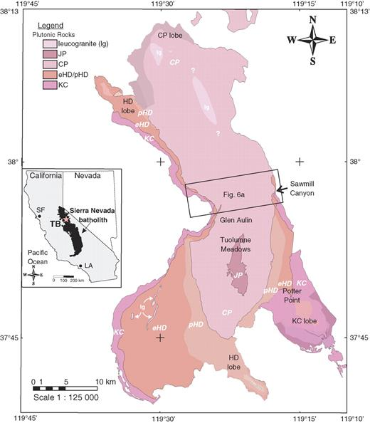 Geologic map of Tuolumne batholith and its host rocks (after Huber et al., 1989). Includes new mapping (by Paterson and colleagues) of much of the batholith at a scale of 1:24,000. Note the five main units in the central batholith and presence of additional internal zoning in the four lobes extending out from the units in the central batholith (after mapping by Memeti and colleagues). The structures discussed in this paper occur in all units and in lobes. Index map shows location of Tuolumne batholith (TB) in California. Box indicates location of Figure 6A. KC—Kuna Crest unit; CP—Cathedral Peak granodiorite; JP—Johnson granite porphyry; HD—Half Dome granodiorite (p is porphyritic, e is equigranular); SF—San Francisco; LA—Los Angeles.