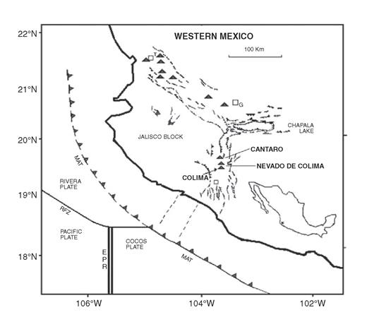 Tectonic map of western Mexico showing the Colima rift and the Colima volcanic complex. Black triangles represent major volcanic centers in the area. Major structural lineaments mark the tectonic depressions of the Colima rift and Tepic–Zacoalco Rifts. G—Guadalajara City; T—Tepic; MAT—Mesoamerican Trench; EPR—East Pacific Rise; RFZ—Rivera fracture zone.