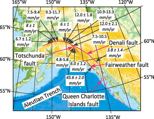 Map of Alaska showing the traces of the Queen Charlotte Islands, Fairweather, Denali, and Totschunda faults. Rates in italics are based on geodetic measurements (Fletcher and Freymueller, 2003; Freymueller et al., 2008), and those in normal fonts are based on dating of Quaternary offsets (Matmon et al., 2006; Mériaux et al., 2009).