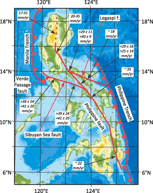 Map of the Philippines showing the trace of the Philippine fault as given by Allen (1962), the Sibuyan Sea fault according to Beavan et al. (2001), and the Verde Passage and Legaspi faults from Rangin et al. (1999). All rates are based on geodetic measurements (Beavan et al., 2001; Galgana et al., 2007; Rangin et al., 1999; Yu et al., 1999).