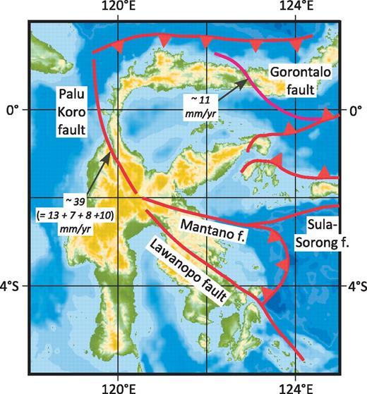 Map of Sulawesi showing the traces of the Palu Koro, Gorontalo, and other faults (f.). Purple line shows right-lateral fault, and red lines show left-lateral faults. Names and locations of faults and rates for the Palu Koro and Gorontalo faults are from Socquet et al. (2006). The sum of 13, 7, 8, and 10 mm/yr does not equal 39 mm/yr, presumably because of round-off errors. Moreover, the speed of one flank with respect to the other is 42 mm/yr, because of a large normal component on at least one trace and a component of extension across the Palu Koro fault zone.