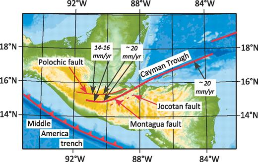 Map of Guatemala and the adjacent Cayman Trough showing the traces of the Polochic, Motaqua, and Jocotan faults and estimates of rates across the entire zone based on global positioning system data from Lyon-Caen et al. (2006).