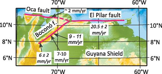 Map of northeastern South America showing the traces of the El Pilar, Boconó, and Oca faults. Rates in italics are based on geodetic measurements (Pérez et al., 2001; Trenkamp et al., 2002), and those in normal fonts are Quaternary slip rates estimated by Audemard et al. (1999, 2008) for the Boconó fault and by Audemard (1996) for the Oca fault.