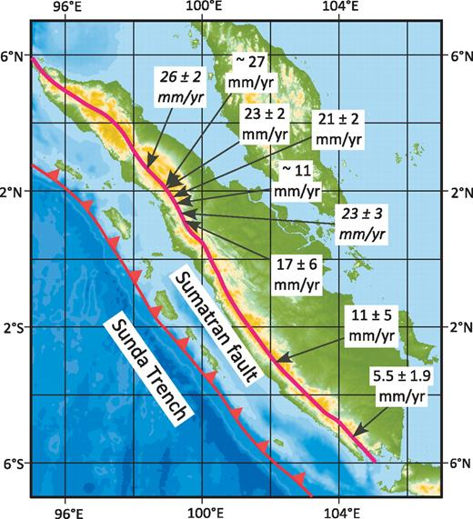 Map of Sumatra showing the trace of the Sunda Trench and the Sumatran fault. Rates in italics are based on geodetic measurements (Genrich et al., 2000; Prawirodirdjo et al., 2000), and those in normal fonts are from dated Quaternary offsets from Bellier and Sébrier (1995), Bellier et al. (1999), and Sieh and Natawidjaja (2000).