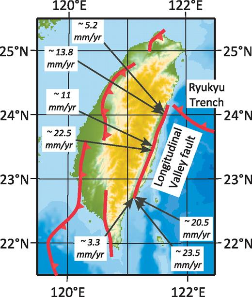 Map of Taiwan showing the trace of the Longitudinal Valley fault and some of the thrust faults on the west side of the island (e.g., Shyu et al., 2005). Rates in italics are based on geodetic measurements (Bos et al., 2003; Hu et al., 2001; Yu et al., 1990).