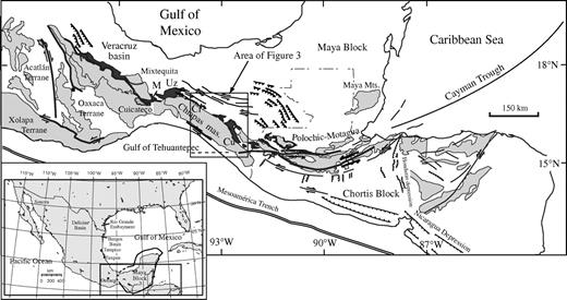 Crystalline rocks of southern Mexico and Central America (light gray), terranes, and outcrop belt of the Todos Santos Formation (dark gray). Some localities mentioned in the text: Ci—Cintalapa, Cu—Custepec, M—Matías Romero, Uz—Uzpanapa.