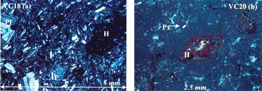 (A) (left) Cross-nichols photomicrograph of sample from site VC18. H—hornblende, Pl—plagioclase, F—K-feldspar. (B) VC20 shows hornblende and pyroxene phenocrysts.