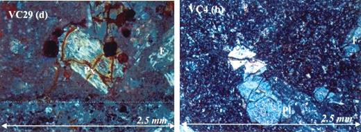 (A) (left) Cross-nichol photomicrograph of a sample from site VC4; symbols as in Figure A1. (B) a pyroxene phenocryst and banding indicated by dotted line.