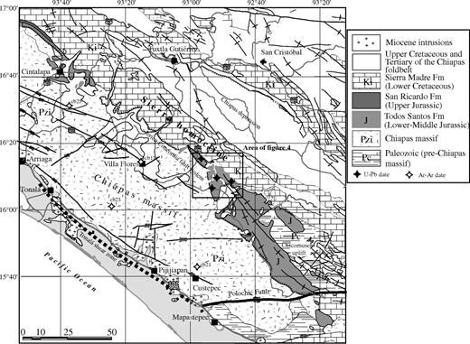 Geologic map of west-central Chiapas, showing the sampling area in the Sierra homocline and geochronology sampling sites (modified from Consejo de Recursos Minerales, 1994).