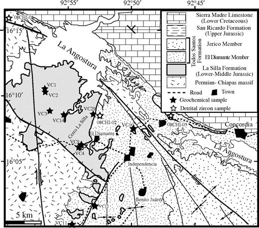 Geologic map of the Angostura lake area with sampling localities.