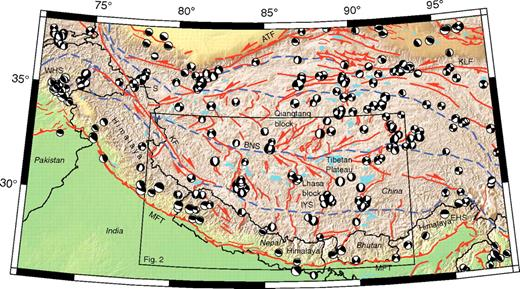 Active structures (orange lines) and suture zones (dashed blue lines) of the Himalayan-Tibetan orogen (after Styron et al., 2010). Focal mechanisms are from the Global Centroid Moment Tensor catalog (www.globalcmt.org), 1976– 2008. Topography is from the Shuttle Radar Topography Mission. MFT—Main Frontal thrust; WHS—western Himalayan syntaxis; EHS—eastern Himalayan syntaxis; IYS—Indus-Yarlung suture; KF—Karakoram fault; BNS—Bangong-Nujiang suture; ATF—Altyn Tagh fault; S—global positioning system site STAKSHA; KLF—Kunlun fault.