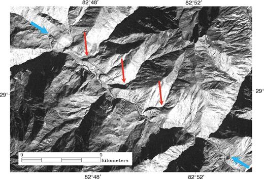 Corona satellite imagery of the Tibrikot fault, Dolpo region, Nepal. Blue arrows indicate the trace of the fault. Red arrows indicate consistent right-lateral offsets of stream drainages crossing the fault. Note the sharpness of the fault trace, which suggests its recent activity.