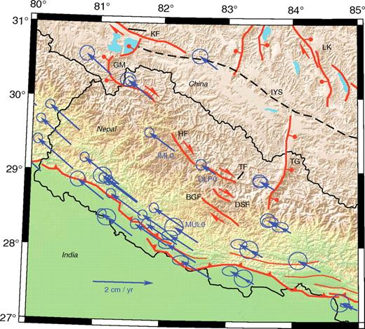 Active structures and arc-parallel global positioning system (GPS) velocities in western Nepal and surrounding areas. JML0, DLP0, and MUL0 are GPS sites discussed in the text. BGF—Bari Gad fault; DSF—Dhaulagiri Southwest fault; TF—Tibrikot fault; HF—Humla fault; TG—Thakkhola graben; GM—Gurla Mandhata; IYS—Indus-Yarlung suture; KF—Karakoram fault; LK—Lopukangri rift.