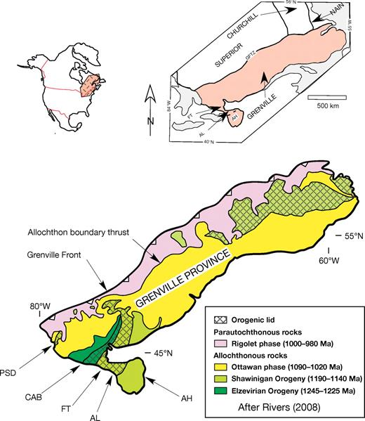 General location diagram showing subdivisions of the Grenville Province after McLelland et al. (1996), Rivers (1997), and Rivers (2008). Upper diagram: AH—Adirondack Highlands; AL—Adirondack Lowlands; FT—Frontenac Terrane; GFTZ—Grenville Front Tectonic Zone. Lower diagram: AH—Adirondack Highlands; AL—Adirondack Lowlands; CAB—Composite Arc Belt; FT—Frontenac Terrane; PSD—Parry Sound domain. Inset shows location of the Grenville Province with respect to North America.
