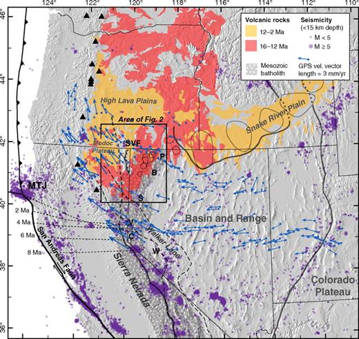 Selected tectonic features in the western U.S. and main region of Neogene volcanic rocks along the northern and western boundary of the Basin and Range province from Reed et al. (2005). Thick gray lines show approximate boundary of the Basin and Range province. Black triangles—active volcanoes of the Cascades. Inferred Yellowstone hotspot calderas outlined with thin gray lines after Pierce and Morgan (1992) in the Snake River Plain and Coble and Mahood (2008) in northwest Nevada. Main region underlain by Mesozoic batholithic rocks after Van Buer et al. (2009). Northern Walker Lane extent after Faulds et al. (2005); southern after Wesnousky (2005). Short dashed lines—location of Mendocino edge of subducting Juan de Fuca slab over the last 8 Ma (Atwater and Stock, 1998). GPS velocity vectors from Hammond and Thatcher (2004, 2005). Earthquake data from the Northern California Earthquake Catalog and Advanced National Seismic System (ANSS) Worldwide Earthquake Catalog. Localities referred to in text: B—Black Rock Range; C—Carson Range; P—Pine Forest Range; S—Shawave Range; SVF— Surprise Valley fault; V—Verdi-Boca Basin; W—Wassuk Range.