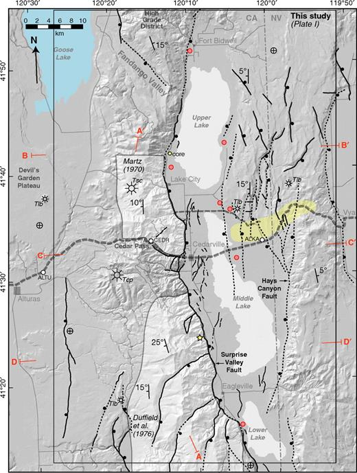 Cenozoic fault map (ball on downthrown block) and index of previous work in the Warner Range region. Black stars are approximate volcanic vent locations and their map unit labels as described in text and Plate 1. Thin dashed gray line is the seismic reflection line (Lerch et al., 2010) along which seismic velocity and potential field models were constructed (Egger et al., 2010). Thicker dashed gray line is the location of the seismic refraction profile also shown in Figure 2 (Lerch et al., 2007). Red lines—cross-section lines (Plate 1, Fig. 6). Yellow star—thermochronology sample studied by Colgan et al. (2008). Red circles—hot spring locations. White circles—GPS stations (Hammond and Thatcher, 2007). Yellow shaded region is the accommodation zone described in the text. Cross-section A–A′ shown in Figure 4; others shown in Figure 6.