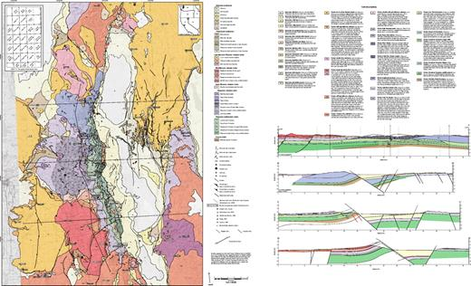 Geologic map and cross sections of the Warner Range and surrounding region at 1:100,000 scale. If you are viewing the PDF of this paper or reading it offline, please visit .http://dx.doi.org/10.1130/GES00620.S1 or the full-text article on www.gsapubs.org to view the full-sized PDF file of Plate 1.