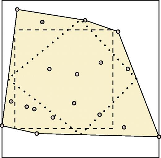 """Schematic two-dimensional illustration of convex hull and primitives fitted to it for optimization. Crystals are shown as stippled circles, convex hull is shaded solid polygon, exscribed """"cube"""" is the solid square, inscribed """"cube"""" is the dashed square, and inscribed """"octahedron"""" is the dotted quadrangle."""