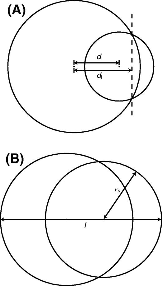 Illustration of observability criteria. (A) Criterion 1 is sensitive to crystals of different size; d is the center-to-center distance between the crystals; dI is the distance from the larger crystal's center to the plane of intersection (dashed line). (B) Criterion 2 is sensitive to crystals of similar size; l is the total length of the crystal pair, and rS is the radius of the smaller crystal.