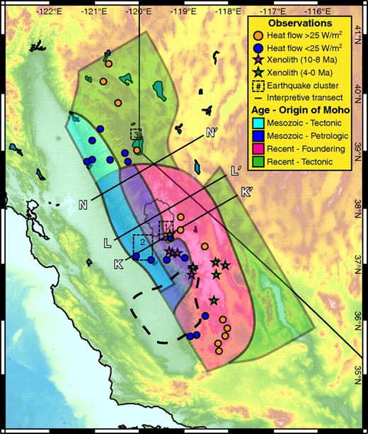 Summary of differing types of Moho observed across the Sierra Nevada with clusters of local seismicity (Hurd et al., 2006; von Seggern et al., 2008), reduced heat-flow measurements (Saltus and Lachenbruch, 1991), and localities of xenoliths (Ducea and Saleeby, 1996, 1998c).