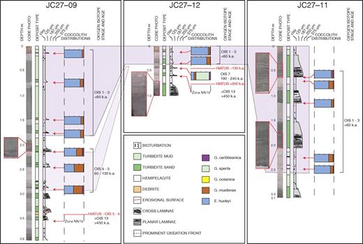Core data from Agadir Canyon mouth scours (for locations, see Fig. 2). Data include core photos, graphic logs and interpretations, and coccolith ratios (E.—Emiliania; G.—Gephyrocapsa) from hemipelagic sediments that provide dating control (see key for species). OIS—Oxygen Isotope Stage. Core JC27–09 recovered sediments from within a large amalgamated scour, JC27–12 was taken from within an isolated scour, and JC27–11 sampled sediments adjacent to the scoured zone. Note the marked variability in abundance, thickness, and grain size of turbidite deposits, across an area of just more than 2 km. Two hiatuses are identified in the isolated scour (JC27–12), one that covers a period of ∼130 k.y. and ended ca. 60 ka, and a second below OIS 7 that covers >200 k.y. In contrast, only a single hiatus of >320 k.y. is located in the amalgamated scour JC27–09, ending ca. 130 ka. These hiatuses point to at least 3 separate erosive events, ca. 60 ka and ca. 200 ka in the isolated scour, and ca. 130 ka in the amalgamated scour.