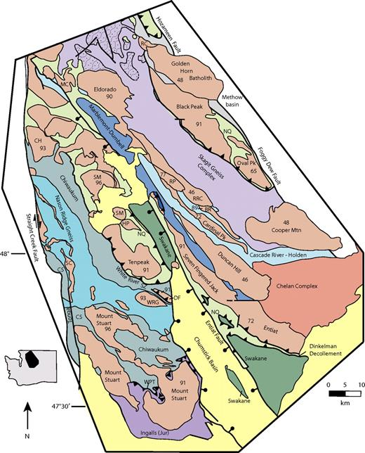 Simplified geologic map emphasizing the Cascades core. Plutons are colored pink and numbers are crystallization ages; BR—Bearcat Ridge Orthogneiss; CH—Chaval pluton; CS—Chiwaukum Schist; DF—Dirtyface pluton; HP—High Pass pluton; MC—Marble Creek pluton; NQ—Napeequa unit; RRC—Railroad Creek pluton; RP—Riddle Peaks pluton; SC—Sloan Creek plutons; SM—Sulphur Mountain pluton; WPT—Windy Pass thrust; WRG—Wenatchee Ridge Gneiss. The Methow basin and Northwest Cascades system west of the Straight Creek Fault are shown with the same color, emphasizing their Cretaceous and/or older age and low-grade to non-metamorphic rocks. Inset shows Washington State and location of the geologic map.