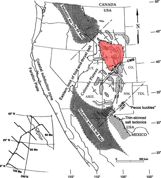 Laramide paleotectonic map of western United States and northern Mexico showing relationships of the Colorado Mineral Belt (CMB) to the gap in the Laramide volcanic arc, major Laramide uplifts and basins of the Rocky Mountain broken foreland, and the subsidence anomaly (red area) of the Wyoming province. Map is modified from Seager (2004). Inset at lower left shows northeastward trajectory of a point on the Farallon plate from 100 to 60 Ma (from Engebretson et al., 1985). Trace of CMB is from Mutschler et al. (1987). Outline of subsidence anomaly is after McGookey et al. (1972, fig. 22 therein), and Cross (1986). Dashed lines show inferred boundaries of the flat slab.