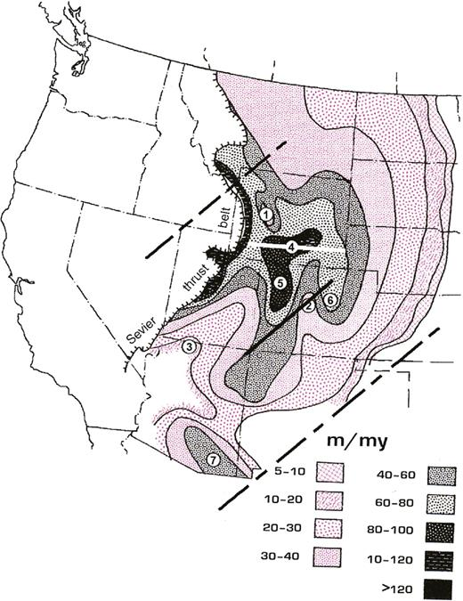 Zuni III subsequence (Late Cretaceous to Early Paleocene) net subsidence rate (Sloss, 1988). 1—Wind River uplift; 2—Front Range uplift; 3—Kaibab uplift; 4—Red Desert–Hanna basin; 5—Piceance-Washakie basin; 6—Denver Basin; 7—Pedregosa Basin. Trace of Colorado Mineral Belt (solid black line) is from Mutschler et al. (1987). Boundaries of flat slab (dashed black lines) are from Figure 1. East-west white line in southern Wyoming shows location of ∼500 km cross section in Figure 5. Modified from Sloss (1988).
