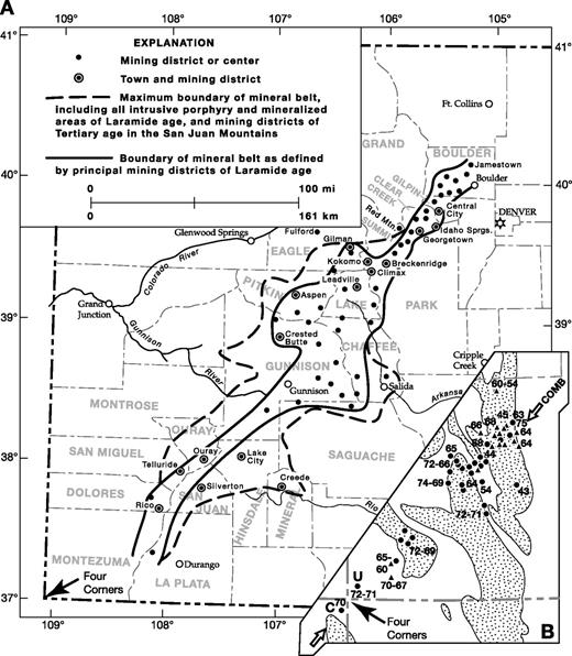 Shape and extent of the Colorado Mineral Belt (CMB) as drawn by different authors. (A) Outline of the CMB as defined by principal mining districts of Laramide age versus maximum boundary when middle Cenozoic mining districts are included (modified from Tweto and Sims, 1963). (B) Inset showing CMB (COMB) as defined by only Laramide plutons (modified from Mutschler et al., 1987). Note different scale, and that there is no age progression of Laramide plutons along the CMB. Isotopic dating has determined a ca. 75 Ma age for the Jamestown stock at the northeast end of the CMB (McDowell, 1971; Gable, 1984) and confirmed the 70 Ma age for the Carrizo Mountains laccolith at the southwest end (Semken and McIntosh, 1997). A 75 has been added to B for the Jamestown stock. The 70 Ma Carrizo laccolith and 72–71 Ma Ute laccolith at the southwest end of the CMB are labeled C and U, respectively. Other laccoliths in the Four Corners area are mid-Tertiary in age (Mutschler et al., 1987).