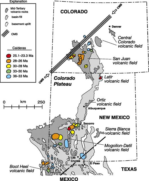 Map showing the Colorado Mineral Belt (CMB) and middle Cenozoic volcanic fields and calderas. Dark gray—middle Cenozoic volcanic fields; light gray—basin fill of Rio Grande Rift and Basin and Range province. Calderas color coded by age as shown in legend and taken from McIntosh et al. (1992), McIntosh and Bryan (2000), Lipman, (2000), Chapin et al. (2004a, 2004b), McIntosh and Chapin (2004), and Lipman and McIntosh (2008). CMB is from Mutschler et al. (1987). Base is modified from Muelhberger (1992). Figure is updated from Chapin et al. (2004a, 2004b). Bold dashed line at bottom is inferred margin of flat slab from Figure 1.