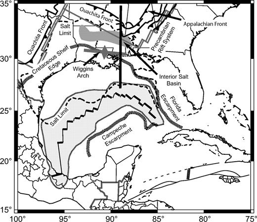 Tectonic map of the central U.S. Gulf of Mexico coastal plain and continental shelf. Solid line shows the location of the cross section shown in Figure 4. Light gray area indicates outline of oceanic crust proposed by Pindell and Kennan (2009). Structure of the Precambrian rift–transform margin from Thomas (1991).