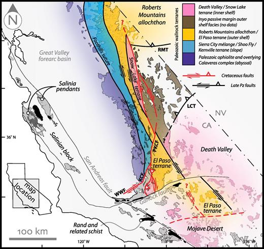 Tectonic map showing paleogeographic affinities of metamorphic pendant belts in the Sierra Nevada batholith. Major Paleozoic and Mesozoic strike-slip faults shown in heavy black and red, respectively. Eugeoclinal assemblages of the El Paso terrane and Roberts Mountains allochthon both shown in orange, despite differences in tectonic setting. Abbreviations: KCF—Kern Canyon fault; LCT—Last Chance thrust; MSLF—Mojave–Snow Lake fault; RMT—Roberts Mountains thrust; WWF—White Wolf fault.