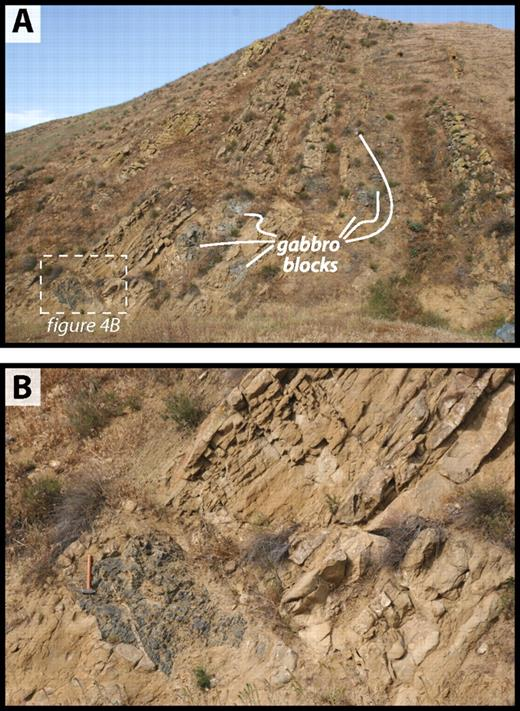 Photographs of Uvas member of the Tejon formation in the San Emigdio Mountains. Note pervasive fracturing of and intrusion of clastic dikes into meter-scale blocks of western San Emigdio mafic complex–derived gabbro. (A) Field of view 50 m long. (B) Field of view 7 m long.