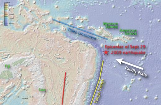 View of Tonga-Samoa region from our data-mining source, GeoMapApp (see text; (http://www.geomapapp.org.). Red star marks epicenter of 29 September 2009 tsunamigenic earthquake south of Samoa. Yellow line marks Tonga Trench; red line is center of Lau marginal basin; blue line is Vitiaz Lineament. Principle emergent island names are in green.