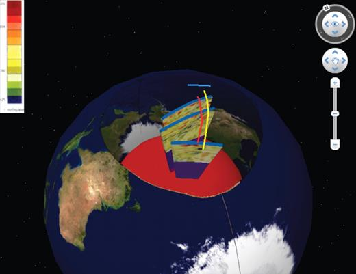 Visualization with circular cutout revealing underlying mantle. Yellow, red, and blue lines mark surface tectonic lineaments. Note that Arctic, North America, and Russia are seen inverted on inner surface of sphere behind core.